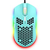 Wired Lightweight Gaming Mouse,6 RGB Backlit Mouse with 7 Buttons Programmable Driver,6400DPI Computer Mouse,Ultralight Honeycomb Shell Ultraweave Cable Mouse for PC Gamers,Xbox,PS4(Green)