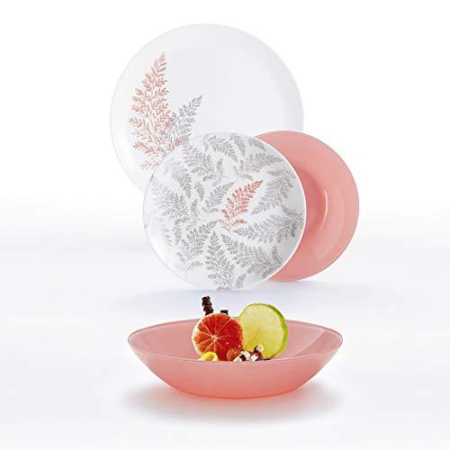 Luminarc Cyrus Blush Vajilla para 6 personas, 18 piezas, Vidrio opal extra resistente, 100% higiénica, Apta para microondas y lavavajillas
