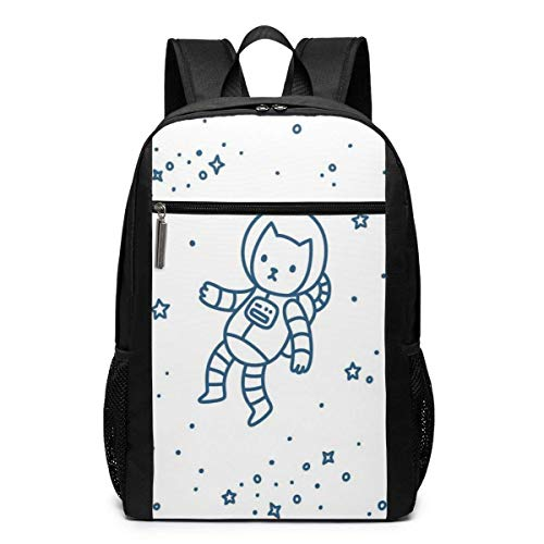 AOOEDM Backpack 17 inch 17 Inch School Laptop Backpack,Cute Cartoon Astronaut Pioneer Cat Flying in Outer Space Doodle Style Constellation,Casual Daypack for Business/College/Women/Men