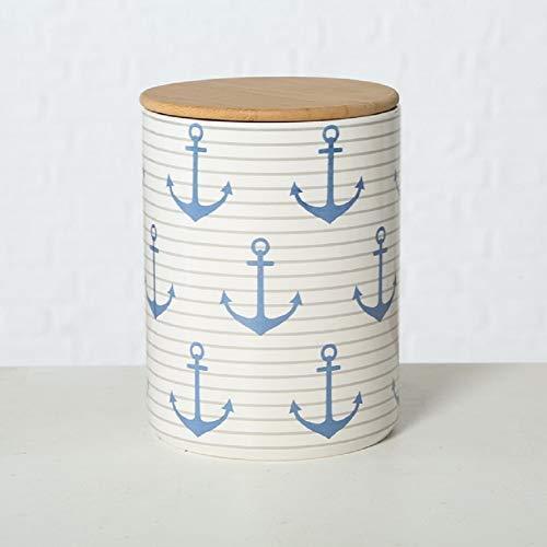 Home Collection Steingut Vorratsdose mit Bambusdeckel und Silikondichtung (luftdicht) Anker blau mit Streifen H16cm D12cm