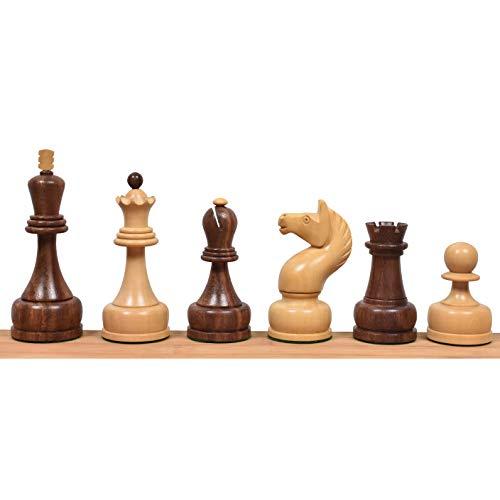 RoyalChessMall Juego de Piezas de ajedrez Tal de Campeonato soviético de 1960, Palo de Rosa Dorado, Rey de 4 '