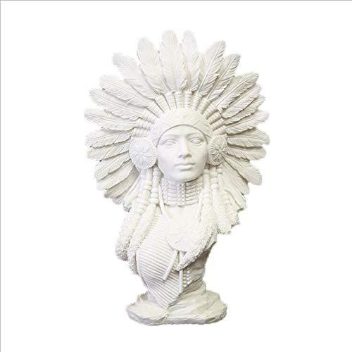 NOBGM Indische Figur Skulptur Dekor, Hindu Krieger Statuen Harz Kopf Büste Home Decor Sandstein Statue Dekoration Kreatives Harz Handwerk Desktop Dekoration,Weiß,20 * 9 * 30cm