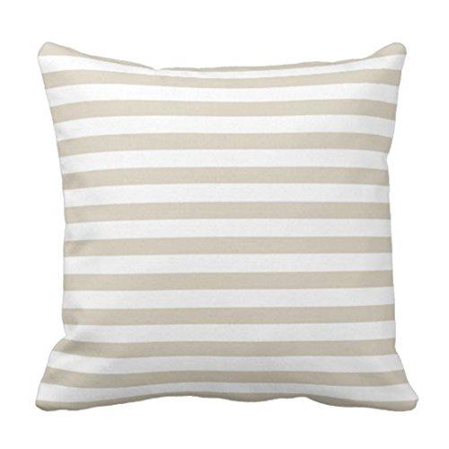 Emvency Throw Pillow Cover Modern Tan Beige White Stripes Decorative Pillow Case Striped Home Decor Square 18 x 18 Inch Cushion Pillowcase