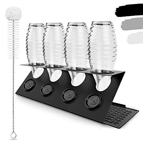 LICHTENWERK® Premium 4er Flaschenhalter für Wassersprudler aus Edelstahl [STEELDRY - Das Original] - Abtropfhalter geeignet für alle Wassersprudler inkl. Abtropfmatte