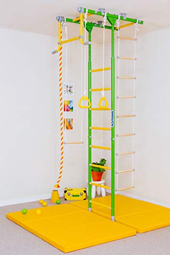 Comet 1: Kids Indoor Home Gym Swedish Wall+Rope Ladder+Rings+Trapeze