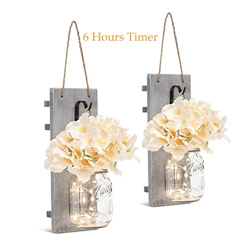 HAchoo Rustic Wall Sconces Mason Jar Decoration Handmade Wall Decor Hanging Design with LED Fairy Lights Living Decor,Farmhouse Kitchen Decorations Wall Home Decor Bathroom Set of 2…