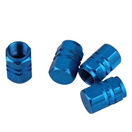 HermosaUKnight 4 Piezas de Aluminio para Coche, camión, Bicicleta, neumático, Llantas, Llantas, válvula de Aire, vástago, Tapas, Cubierta (Azul)