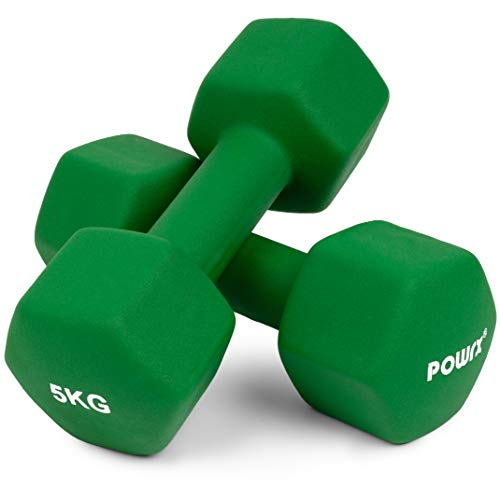 Sechskant Neopren Hanteln (Paar) inkl. Workout I 0,5 – 10 kg I Gewichte für Gymnastik Kurzhanteln (2 x 5 kg)