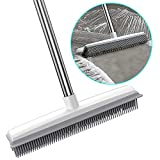 Pet Hair Removal Rubber Broom with Squeegee, 2 in 1 Push Broom Rubber Broom Carpet Rake Long Handle Floor Brush for Carpet Hardwood Floor Tile Windows Cleaning