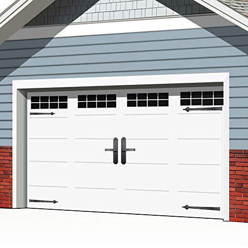 Garage Door Magnetic Decorative Hardware 32pcs Door Faux Magnetic Windows and 6 pcs Hinges Handles Installation for Metal Car Garage Door Accent Kit