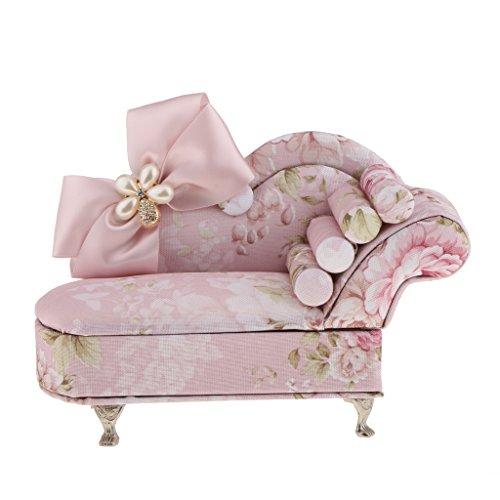 Baoblaze Kreative Mini Möbel Form Schmuckkästchen Schmuckkoffer Kosmetikkoffer für Schmuck, Rosa - Sofa