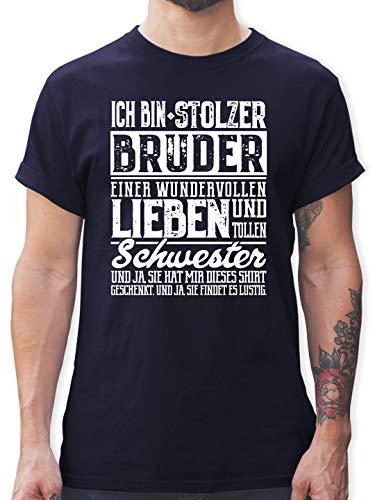 Bruder & Onkel - Ich Bin stolzer Bruder Einer tollen und wundervollen Schwester - XL - Navy Blau - t Shirt Bruder und Schwester - L190 - Tshirt Herren und Männer T-Shirts