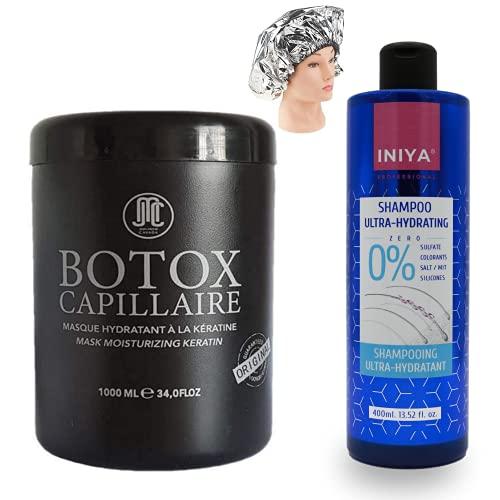 Botox Capillaire Jean Michel CAVADA + Shampooing Hydratant Sans Sulfate INIYA + 1 Bonnet Auto Chauffant