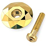 WALKPROEFO Bike Headset MTB Stem Cap 1 1/8' Aluminum Caps with Stainless Steel Bolt and Spacers Multicolor Gold Titanium Rainbow Color for Mountain Road Bikes 2 Components (Gold 28.6mm)