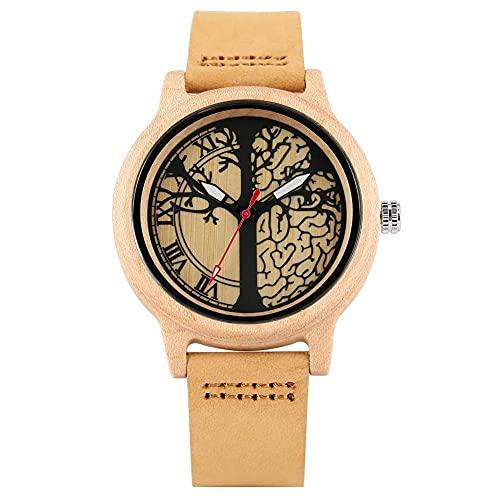 HYLX Unique Maple Life Tree Patterns Dial Reloj de Madera para Mujer, Reloj de Pulsera con Banda de Cuero marrón Premium para Amigos, Relojes de Madera de Cuarzo Hechos a Mano para Mujer
