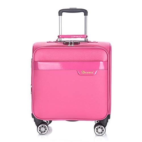 fosa1 Hand Luggage Trolley case PU Business Suitcase, Universal Wheel Trolley Case, Solid Color Fashion Waterproof Boarding Suitcase 18 Inch Pink