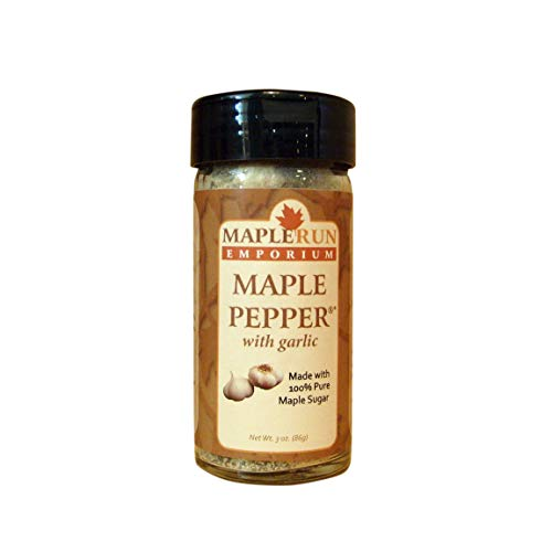 Maple Run Emporium Maple Pepper with Garlic–Dry Seasoning Blend with Sea Salt–Spice Up Italian Pasta or Chili Sauce–Sprinkle on Bread–Rub on BBQ Chicken or Shrimp–Make Spicy Mayo Spread or Aioli Dip