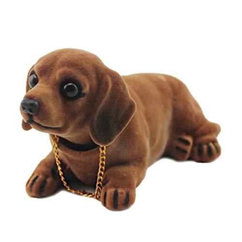 NUOBESTY Car Bobblehead Dog Doll - Figura decorativa de resina para coche, diseño de cachorro salchicha, 15,5 x 10,5 x 9 cm