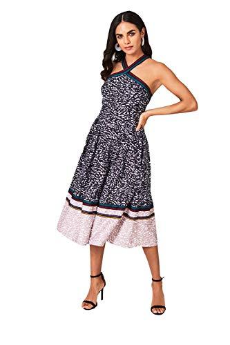 Little Mistress Penelope Animal-Print and Grosgrain Midi Dress Vestido Fiesta Mujer, Multicolor (Multi 001), 40 (Talla del Fabricante: 12)