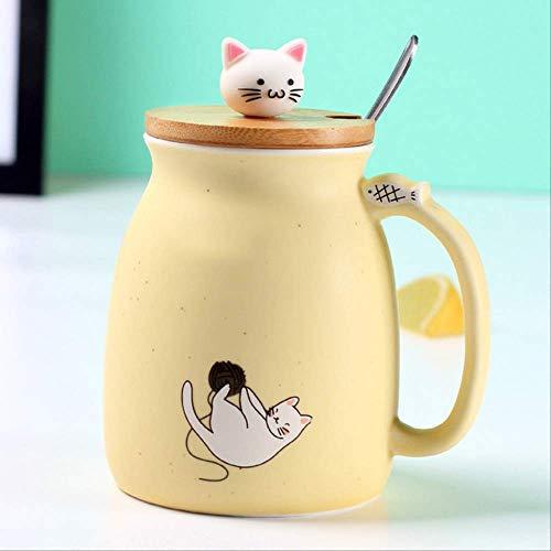 GJDBBLY Tazza Color Cat Heat-Resistente Mug Cartoon con Lid Cup Gattino caffè Ceramica Tazze 9/14cm Come Mostrato