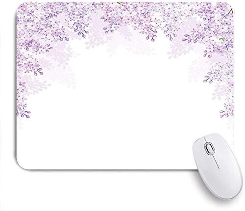 NOLOVVHA Gaming Mouse Pad Rutschfeste Gummibasis,Rahmung lila Blumen in Blossom Vernal Season Beruhigende Farbe Blume Shades,für Computer Laptop Office Desk,240 x 200mm