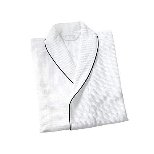 Dünner Unisex-Bademantel aus Baumwolle, 100% Baumwolle, Bademantel aus Baumwollschwamm 2 Taschen, Kleid mit Gürtel und Schnalle - weicher, saugfähiger, bequemer Bademantel,weißL