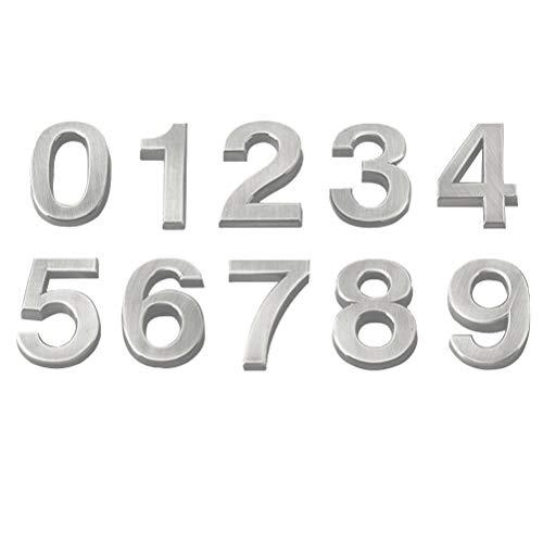 VOSAREA 3D-Hausnummer 0-9 Aufkleber Türnummer Zimmernummer für Haus Hotel Tür Adresse Zeichen 5 cm 10 Stücke (Silber)