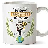 Mugffins architetta Tazze Originali di caffè e Colazione da Regalare Lavoratori e Professionisti - Migliore architetta del Mondo - Ceramica 350 ml