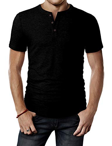 H2H Mens Casual Relaxed Fit Henley Fashoin Shirts with Button Placket Black US M/Asia L (CMTTS0203)