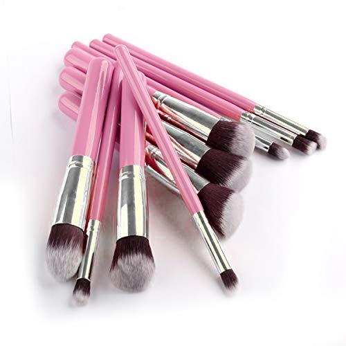 10pcs 5 épais 5 mince pinceau de maquillage professionnel cosmétique maquillage magique épaisse brosse ensemble paupières poudre Fondation (Color : Pink+Silver)