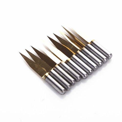 SHINA 10 pcs Foret de haute qualité Revêtement de Titane Carbide PCB Gravure CNC Bit Router Outil 20°Bout 0.3mm