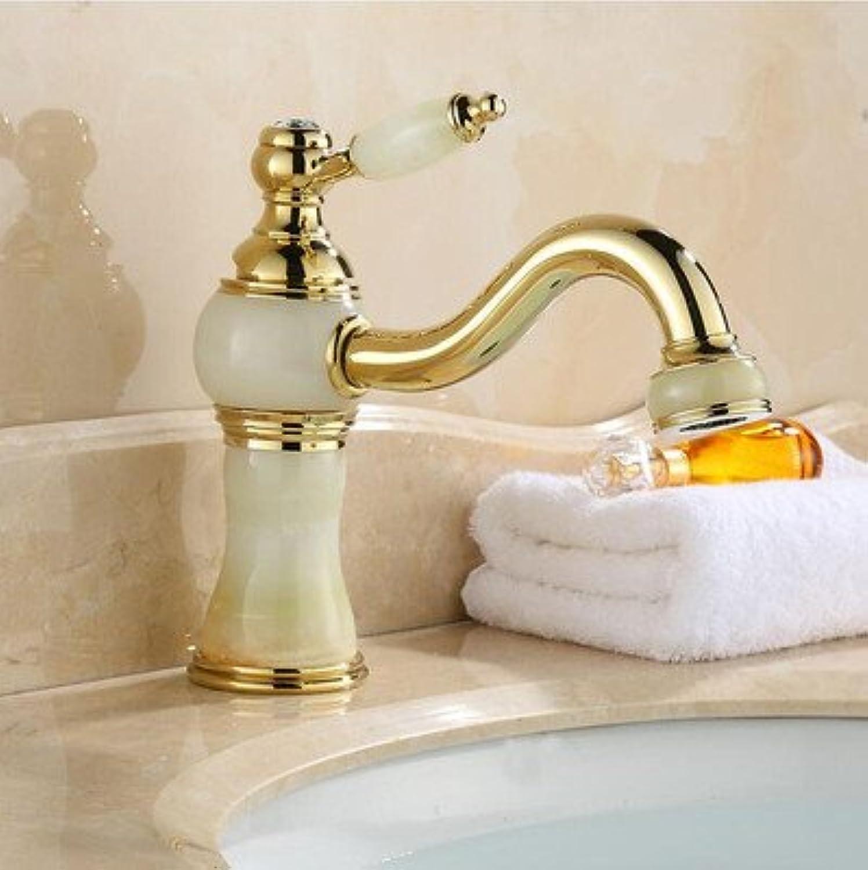 Kitchen Tap Wash Basin Natural Jade gold Cold and Hot redary European Antique Basin Washbasin Faucet Kitchen Taps Kitchen Sink Mixer Taps Basin Tap