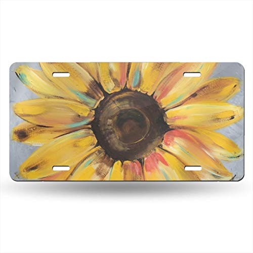 FJyuanqi Sunflower License Plate for Women Girls Cute Aluminum Metal License Plate Car Tag Novelty Home Decoration 6 Inch X 12 Inch