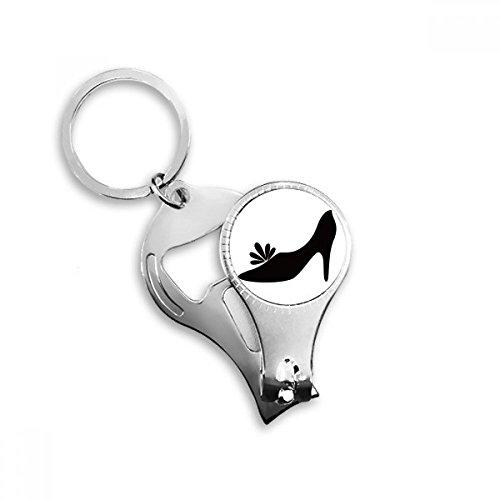 Zwarte Hoge Hakken Bloem Patroon Silhouette Sleutelhanger Ring Multi-functie Nagel Clippers Flesopener Gift