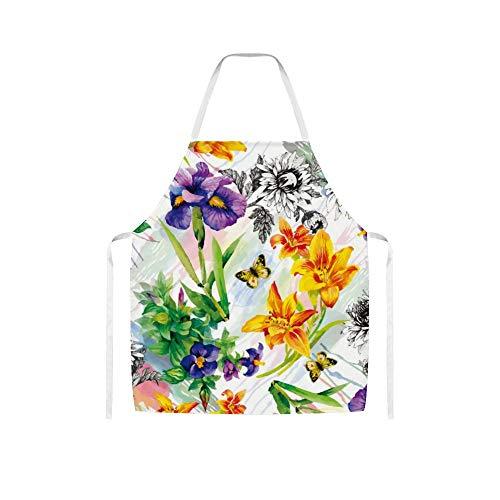 Doinh Gartenlilie, Veilchen, Saintpaulia Blumen Aquarell mit Schmetterlingen Wolltuch Schürze für Damen und Herren zum Kochen, Grillen und Backen