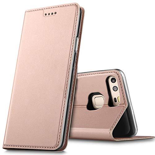 Verco Handyhülle für P9, Premium Handy Flip Cover für Huawei P9 Hülle [integr. Magnet] Book Hülle PU Leder Tasche, Rosegold