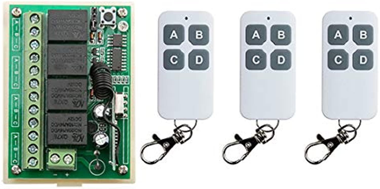 New DC12V 4CH 4Channe 10A RF Wireless Remote Control Switch System, 3 X Transmitter + 1 X Receiver,315 433 MHZ