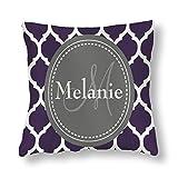 perfecone Home Improvement Funda de almohada de algodón doble monograma púrpura y gris Quatrefoil Funda de almohada para sofá y coche 1 paquete de 45 x 45 cm