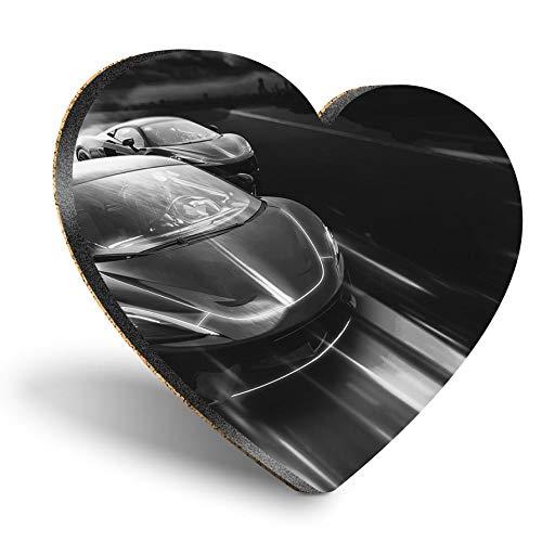 Posavasos con forma de corazón MDF, BW, futuro, deportivos, coches de carreras de coches, para hombre, con calidad brillante, protección de mesa para cualquier tipo de mesa #43579