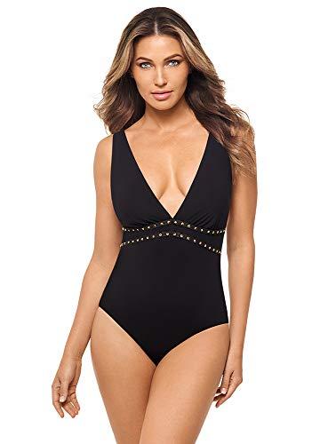Amoressa Women's Swimwear Romancing The Stone Lupita Soft Cup Plunging Neckline One Piece Swimsuit, Black, 08