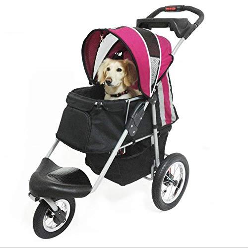 MCSHGPETY Hundebuggy Buggy Pet Stroller 3 Runde Travel Spaziergänger Hund Katze Kinderwagen Kinderwagen Welpen Jogger Folding Träger Hundewagen Große Hunde (Color : 2)