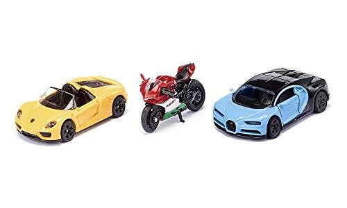Siku 6313, Sportwagen und Motorrad, Metall/Kunststoff, Gelb/Rot/Blau, Kombinierbar mit Siku Spielzeugmodellen im gleichen Maßstab