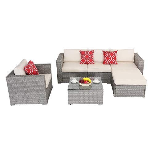 Do4U Patio Furniture Set 6-Piece Outdoor Lawn Backyard Poolside All Weather PE Wicker Rattan Steel Frame Sectional Cushioned Seat Sofa Conversation Set (Gray-Beige)