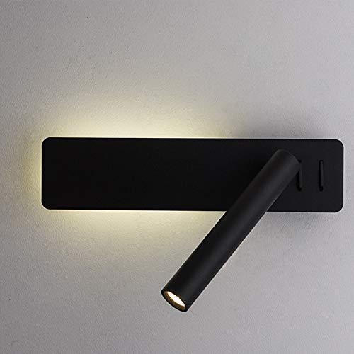 QEGY Aplique de Pared Negro con Interruptor, Lámpara de Mesita de Noche Moderna Aluminio Giratorio, Lampara de Lectura con Blanca Cálida para Interior Pasillos Habitación de Niños Iluminación