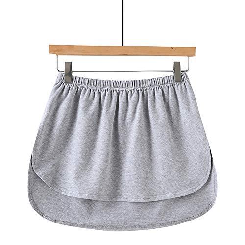 minjiSF Enagua extraíble para mujer, monocolor, elástica, cintura alta, falsa cola de camisa falsa, dobladillo irregular. gris XL