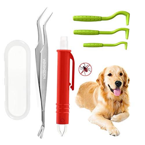 WINSHIDEN Zeckenzange für Hunde & Katze Profi Zeckenhaken Set 5er Pack Zeckenzange Sicher & Effektive Zeckenpinzette für Menschen und Tier