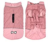 Geyecete dog coats waterproof with harness hole - Windproof Snowsuit puppy coats for small dogs Dog Clothes Outfit Vest Pets-Pink-M