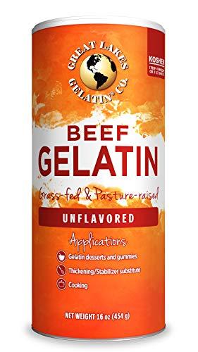 Great Lakes, Beef Gelatin, 16 Oz Can Kosher, Paleo-Friendly, Keto Certified, Gluten Free, Non-GMO