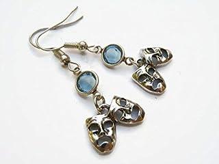 Comedy Tragedy Mask Birthstone Earrings, Personalized Theatre Earrings, Drama Earrings, Theater Actor Jewelry