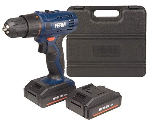 FERM Perceuse sans fil 18V 1.5Ah Li-ion 17+1 32Nm - Incl. 2 batteries, éclairage LED - Adaptée pour bois et métal